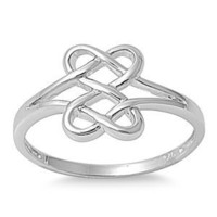 Hearts Infinity Fusion Ring Sterling Silver 925 Size 8