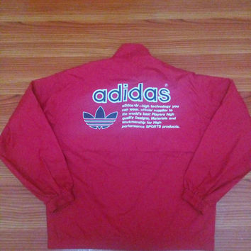 adidas 3 stripes red windbreaker vintage sport wear