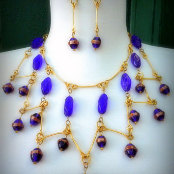 Cleopatra Egyptian Necklace & Earrings  Statement Set  Czech Cobalt Blue Beads Vintage Gold Foil Lampwork Drops