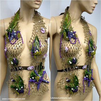 Sirens Of The Sea Purple Green Ariel Netted Siren Mermaid Halter Bra Top
