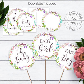 Flora Wreath Cupcake Topper, Printable Boho Baby Shower, Watercolor Floral Baby Shower, Cupcake Decorations, Party Circles