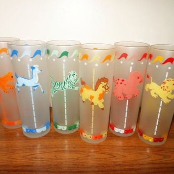 Libbey Merry Go Round Tom Collins Glasses, Frosted Carousel Drinking Glasses, Circus Animal Glasses, Lion Tiger Leopard Horse Deer Elephant