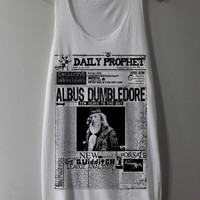 Harry Potter Newspaper Shirt Daily Prophet Albus Dumbledore Shirts Tank Top Tunic TShirt T Shirt Singlet - Size S M L