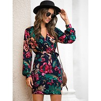 Floral Print Self Tie Fitted Dress