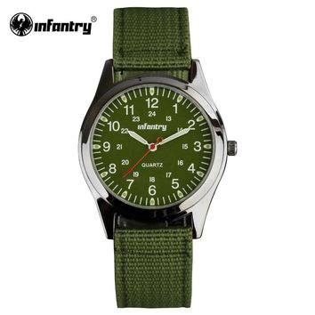 INFANTRY Men Quartz-watch Luminous Durable Nylon Strap 24 Hrs Display Military Sport Army Watch Male Clock Relogio Masculino