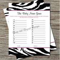 Baby Name Game - Printable Baby Shower Game - Instant Download - Printable Name A - Z Game Hot Pink Zebra Stripe Baby Shower Game PDF - 004