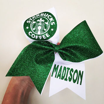 Personalized Glitter Starbucks cheer bow