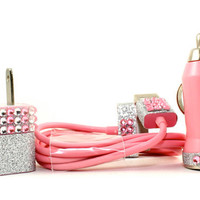 Glamour Pink iphone charger set - also compatible with ipods and ipads
