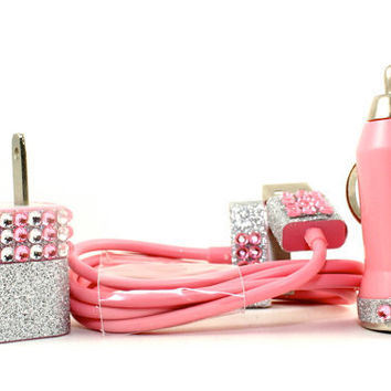 FAST & FREE SHIPPING Glamour Pink iphone charger set - also compatible with ipods and ipads