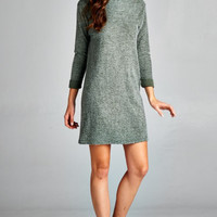 Weekend Rendezvous Sweater Dress - Olive