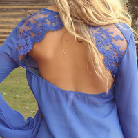 Carpinteria Royal Blue Bell Sleeve Lace Open Back Sheer Top