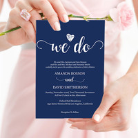 Navy blue wedding invites instant download - Navy Wedding Invitations  - Downloadable wedding invitations PDF Instant Download #DPI1308