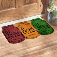 "Home Sweet Home Mason Jar Theme Welcome Door Mat Colorful Coir 27"" x 18"""