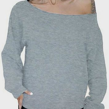 Grey Asymmetric Shoulder One Off Shoulder Backless Casual T-Shirt
