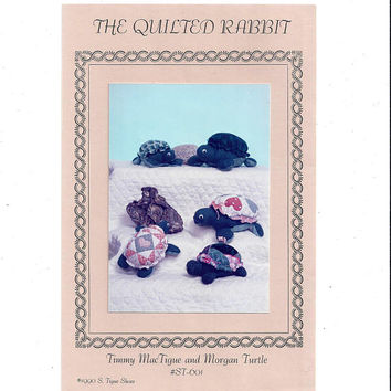 Timmy MacTigue & Morgan Turtle Pattern, FACTORY FOLDED, UNCUT, From 1990, The Quilted Rabbit, Stuffed Turtles, Vintage Pattern, Home Sewing
