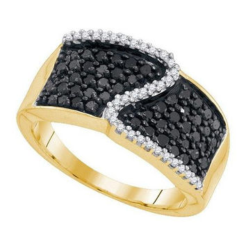 10K Yellow-gold 0.75CTW BLACK DIAMOND MICRO-PAVE RING