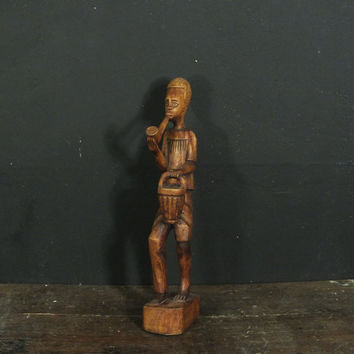 Vintage Mid Century Hand Carved Wood  African American Man Statue