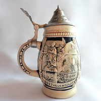 Vintage Small German Beer Stein, Beethovenstadt, German Stein, Small Stein, Home Decor, Housewares, Bar Decor, Mug, Beer Mug, Germany