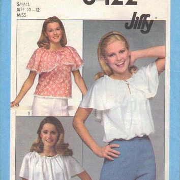 Simplicity 8422 Jiffy Sewing Pattern 70s Boho Style Top Hippie Shirt Blouse Size Small Easy to Sew Ruffle Neck Bust 32 34
