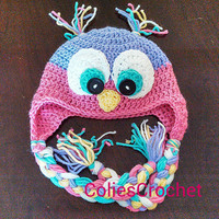 Bright-eyed Owl Earflap Hat in Newborn, Infant, Baby, Toddler and Preschool sizes