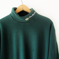 Vintage 1990s Green Bay Packers Football Turtleneck Sz L