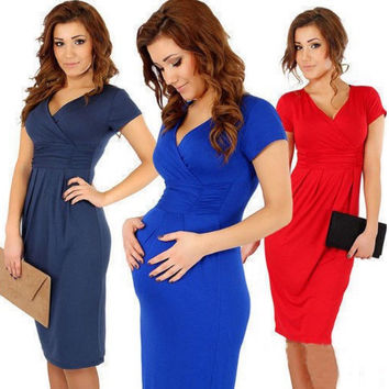 V-Neck Short Sleeves Knee-Length Pregnant Dress