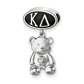 Sterling Silver Kappa Delta With Teddy Bear Dangle Bead Charm