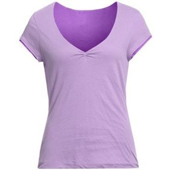 Double-Layer V-Neck Shirt - Short Sleeve (For Women) - Save 82%