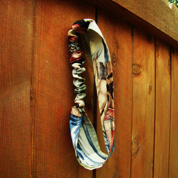 retro cowboy pinup wide headband. Alexander Henry cowboy pin up fabric. vintage style. biker head wrap