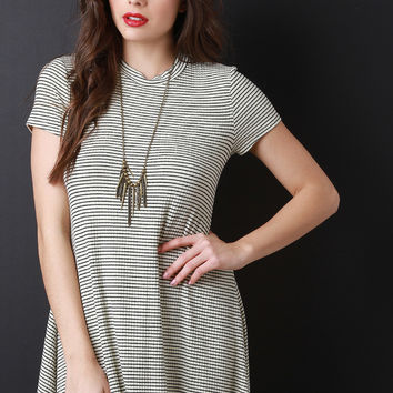 Stripe Short Sleeves Shift Dress