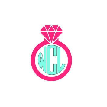 Diamond Car Decal Ring Girls, Personalized Monogram Vehicle sticker decal, Vinyl monogram,personalized decal,bridal party, Engagement bride