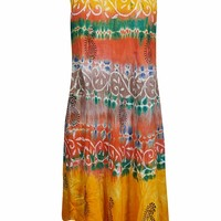 Mogul Interior Womens Diana Long Tie Dye Scoop Neck Flare Dress XL (Yellow,Multi): Amazon.ca: Clothing & Accessories