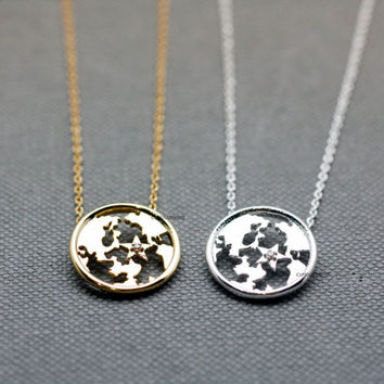 Earth Globe Pendant detailed with Cubic Zirconia Necklace - Available color as listed (Gold, Silver)