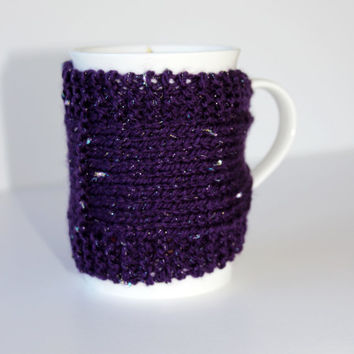 Knitted Mug Cozy - Mug Cozy - Coffee Cup Cozy - Glitter Cozy - Tea Cozy - Mug Jacket - Hot Drink Cozy - Purple Cozy - Knitted Drink Sleeve