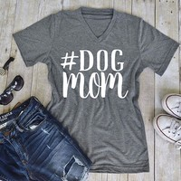 Woman Casual Short Sleene Dog Mom T-Shirt Female V-neck Loose Letters Printing Tops Ladies Grey Streetwear Tee Over Plus Size