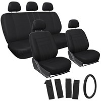 Oxgord 17pc Set Flat Cloth Mesh / Auto Solid Black Seat Covers Set - Airbag Compatible - Front Low Back Buckets - 50/50 or 60/40 Rear Split Bench - 5 Head Rests - Universal Fit for Car, Truck, Suv, or Van - FREE Steering Wheel Cover