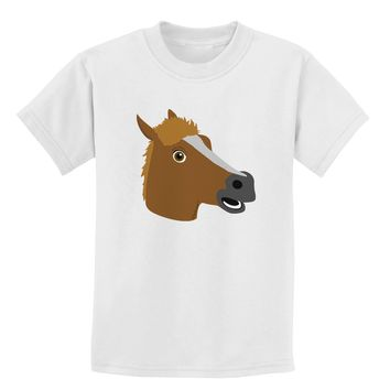 Silly Cartoon Horse Head Childrens T-Shirt by TooLoud