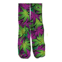 Green and Purple Weed Socks