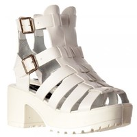 Onlineshoe Cut Out Gladiator Summer Sandals - High Ankle Strappy Buckles - Black, White - Onlineshoe from Onlineshoe UK