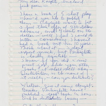 Autograph Letter signed from Gregory Corso to anthology publishers 1 sheet 2 sides in ink.