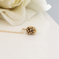 Gold Necklace, Pine Cone Necklace, Dainty Gold Necklace, Bridesmaid Necklace, Gold Jewelry, Gifts for Her, Best Friend, Gifts for Wives, Mom
