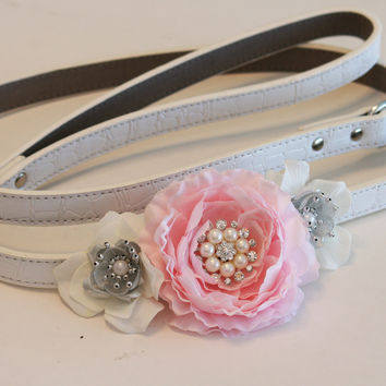 Pink and Silver Floral Leash, Pet Wedding accessory