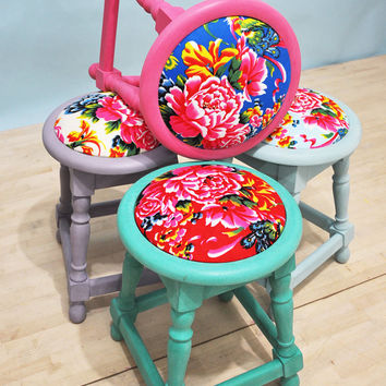 4 x colorful Peony Stools