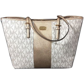 Michael Kors Met Center Stripe Tote MK Logo Handbag Vanilla