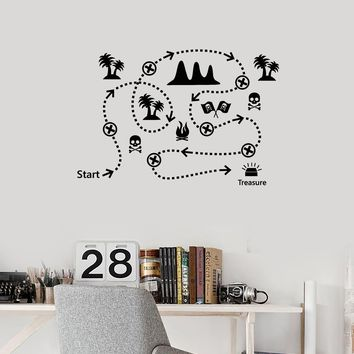 Vinyl Wall Decal Pirate Treasure Map Kids Play Room Creative Art Decoration Stickers Mural (ig5456)
