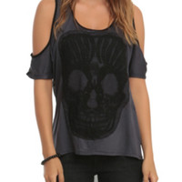 Teenage Runaway Charcoal Skull Cold-Shoulder Top