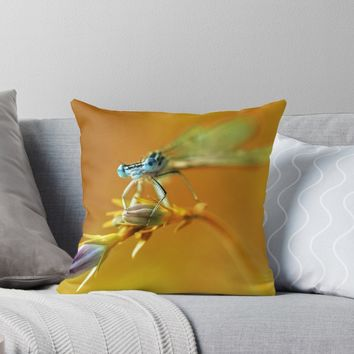 'Spring impresion with blue dragonflyBlue dragonfly sitting on purple flower' Throw Pillow by JBlaminsky