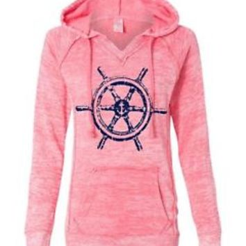Women's Burnout V Notch Sweatshirt Color Deep Coral Wheel Anchor Sweatshirt
