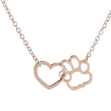 Dog Paw shape + Heart Shape Necklace For Women Personalized Fashion Jewelry (Gloden)