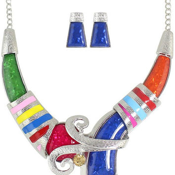 Stripe Designed Rhinestone Necklace and Earrings